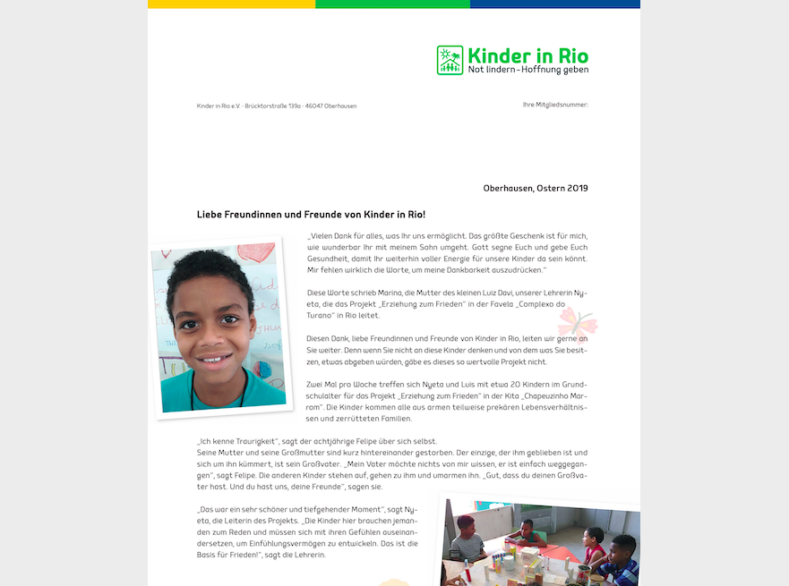 Kinder in Rio Osterbrief 2019
